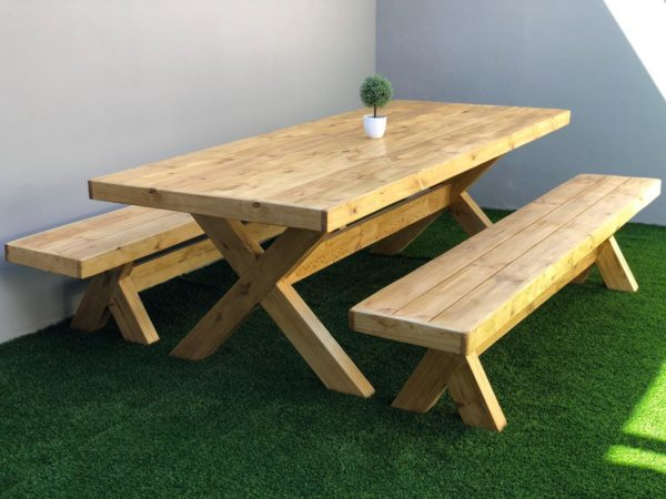 Jenna Natural Dining Table and Benches