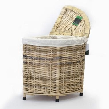 Woven corner laundry basket with linen lining