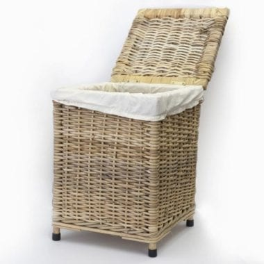Woven square laundry basket