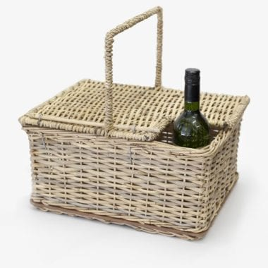 woven picnic basket with wine holder