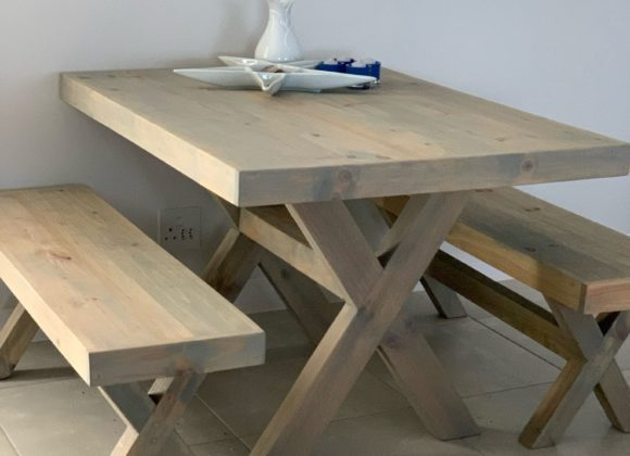 Jenna Blue-Grey Dining Table and Benches