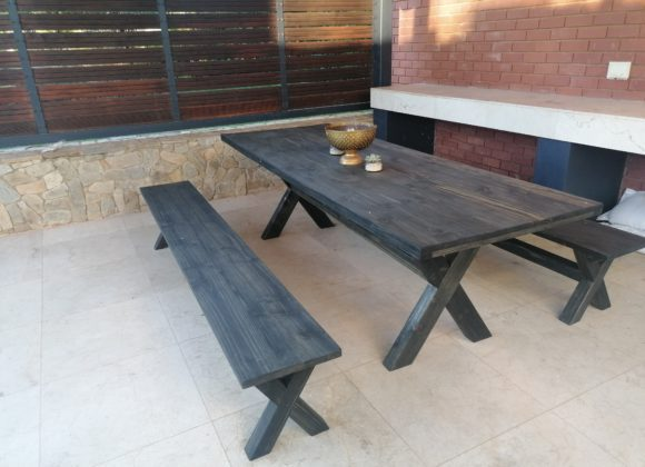 Jenna Black Dining Table and Benches